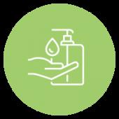 Icône montrant du désinfectant pour les mains.