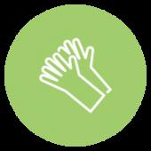 Icône montrant des gants de protection.